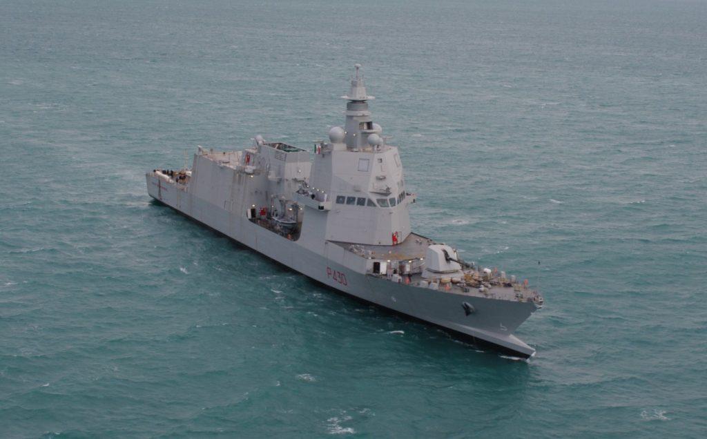 Italian Navy ship Paolo Thaon di Revel on sea trials