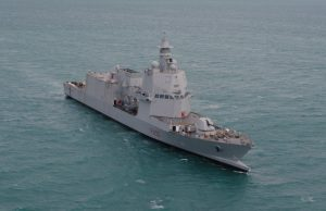 Italian Navy ship Paolo Thaon di Revel on sea trials