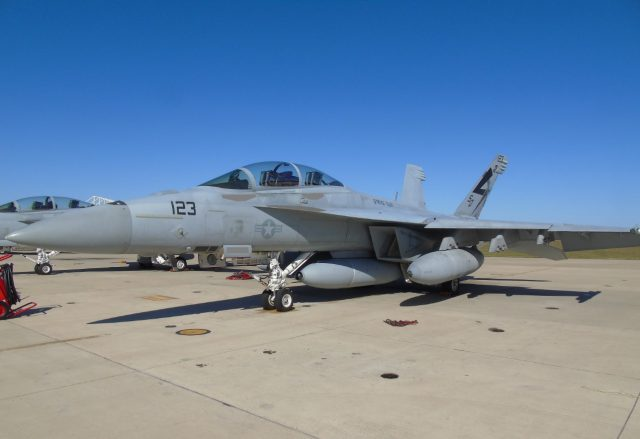 A US Navy Super Hornet with the IRST Block II pod fitted to its undercarriage