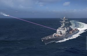 Arleigh Burke-class destroyer with HELIOS laser system