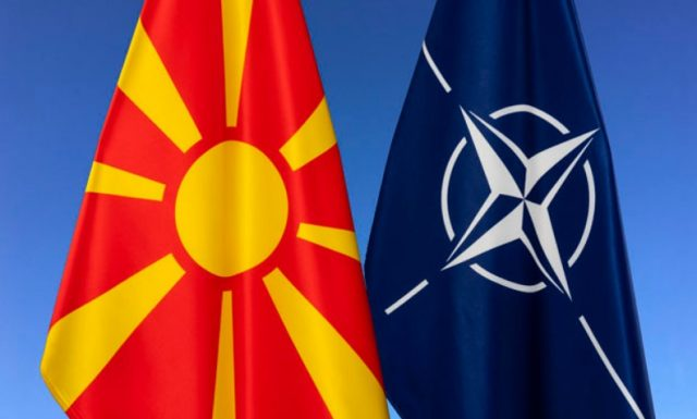 North Macedonia and NATO flags together
