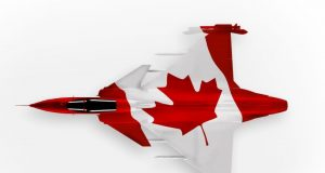 Gripen in Canadian flag livery