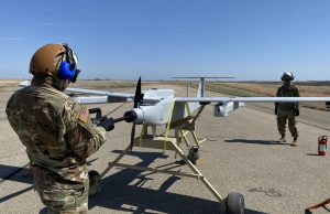 conducts an engine start on the JUMP 20 prior to a launch during the FTUAS capabilities assessment at Fort Riley