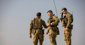 Australian soldiers conduct radio checks at the Taji Military Complex, Iraq.
