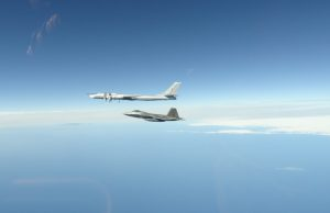 F-22 Raptor intercepting a Tu-95 bomber
