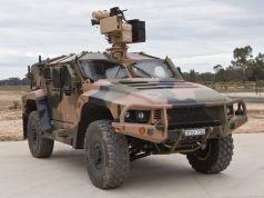 Hawkei vehicle with an EOS RWS