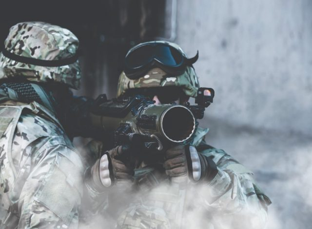 Soldier with a Carl-Gustaf anti-tank weapon