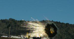 A series of 30mm airburst cartridges fired from the 30mm Bushmaster chain gun