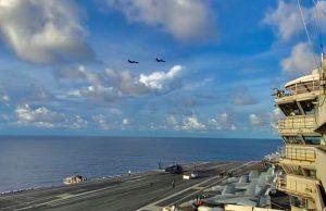 B-1B Lancers over USS Ronald Reagan