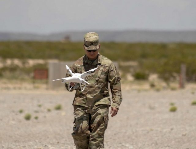 Soldier with commercial drone