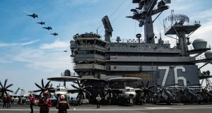 US Air Force aircraft over USS Ronald Reagan