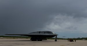 A B-2 Spirit Stealth Bomber arrives at Naval Support Facility Diego Garcia, Aug. 12, 2020.