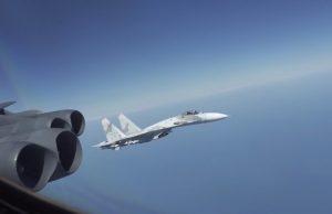 Russian Flanker intercept of B-52 bomber