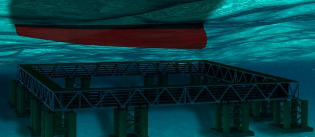 Warship deperming concept illustration