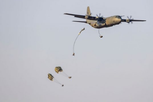 Paratroopers jump from RAF Hercules aircraft over Ukraine