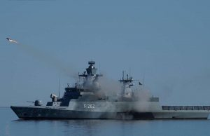German Navy K130 corvette firing RBS-15 anti-ship missile
