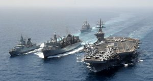 German and US ships replenishment at sea