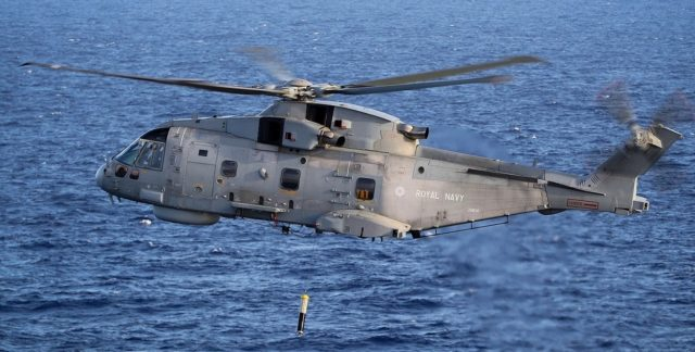 Royal Navy Merlin with Thales dipping sonar
