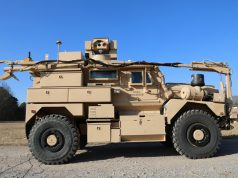 Cougar MRAP with Zeus III laser and robotic arm for UXO removal