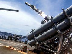 Harpoon missile targeting ex-USS Curts