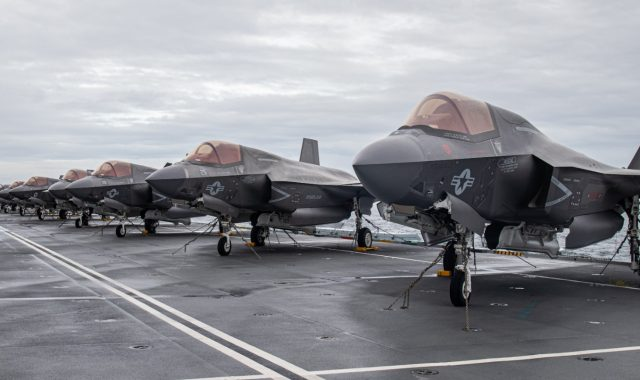 US F-35Bs on the flight deck of HMS Queen Elizabeth