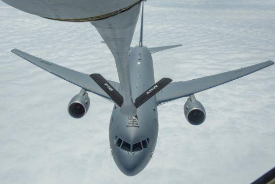 KC-135 refueling a KC-46