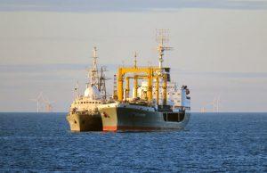 Intelligence gathering ship Viktor Leonov (left9 and tanker Sergey Osipov