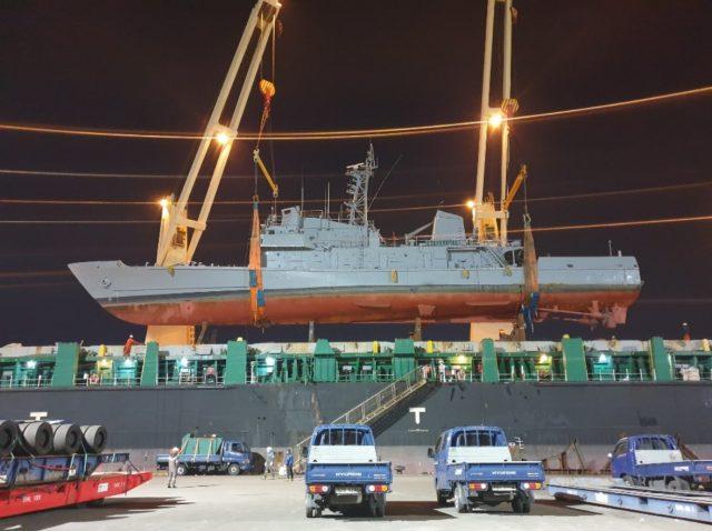 Former Korean vessel loaded for transport to Ecuador