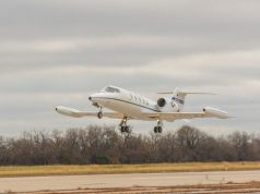 "The first C-21A to acquire new ""delta fins"" takes off Nov. 10, 2020, from Newton City Airport, Kansas"