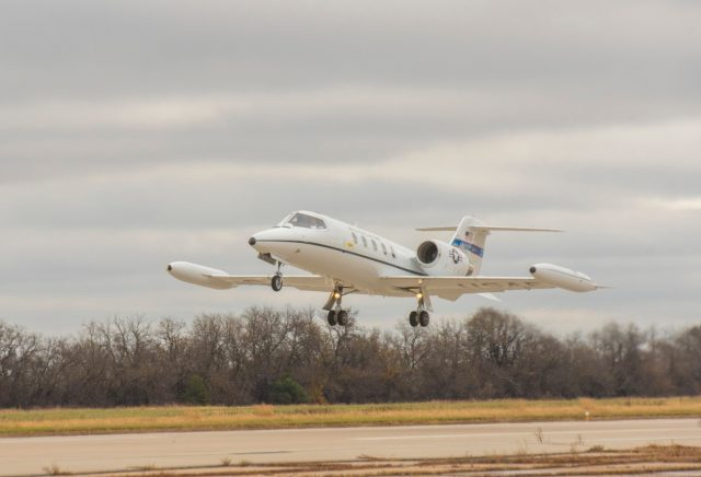 """The first C-21A to acquire new """"delta fins"""" takes off Nov. 10, 2020, from Newton City Airport, Kansas"""