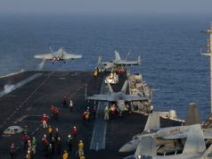 Flight operations aboard aircraft carrier USS Nimitz