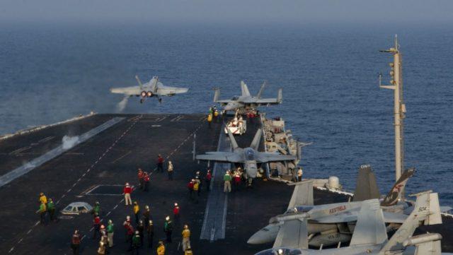 Flight operations aboard aircraft carrier USS Nimitz