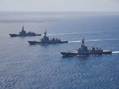 Australian Navy Hobart-class fleet underway together