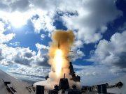 HMAS Hobart firing a RIM-66 Standard Missile 2 (SM2)