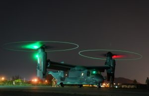 A CV-22 Osprey prepares to take off Feb. 8, 2019 at U-Tapao airfield, Thailand.