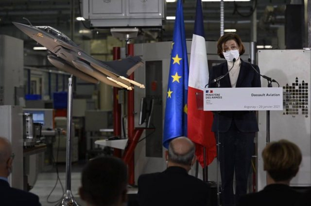 Florence Parly announcing contract for 12 new Rafales for French Air Force