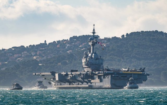 FS Charles de Gaulle departing Toulon on February 21, 2021