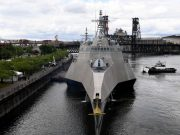 USS Jackson (LCS 6) arrives at the Portland riverfront for Rose Festival Fleet Week