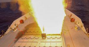 HMAS Hobart launching an SM-2 missile during RIMPAC