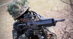 Soldier with a G36 rifle