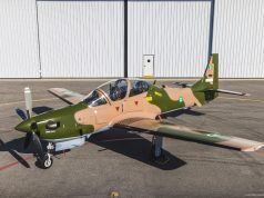 Nigerian Air Force Super Tucano in jungle paint scheme