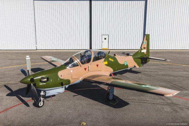 Nigerian Air Force Super Tucano in jungle paint scheme