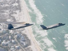 F-22 Raptor and F-35 in formation