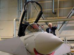 Boris Johnson with Typhoon fighter