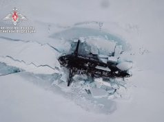 Russian submarine surfacing in the Arctic