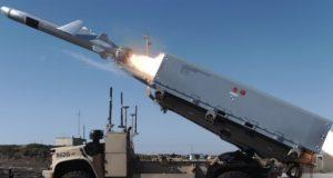 Oskosh Defense-built ROGUE Fires JLTV firing a Naval Strike Missile in California