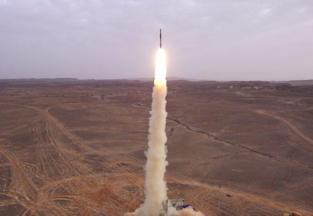 Barak Extended Range missile launching to intercept ballistic missile target