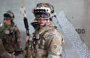 US Army soldier with IVAS headset