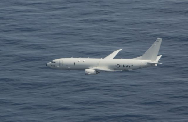Poseidon P-8A flying low over the Mediterranean
