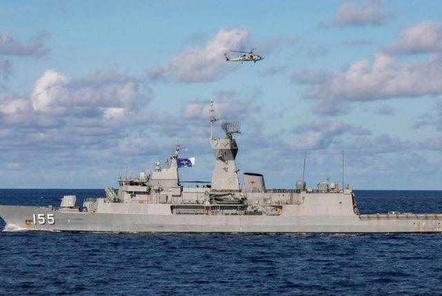 Australian frigate HMAS Ballarat helicopter operations
